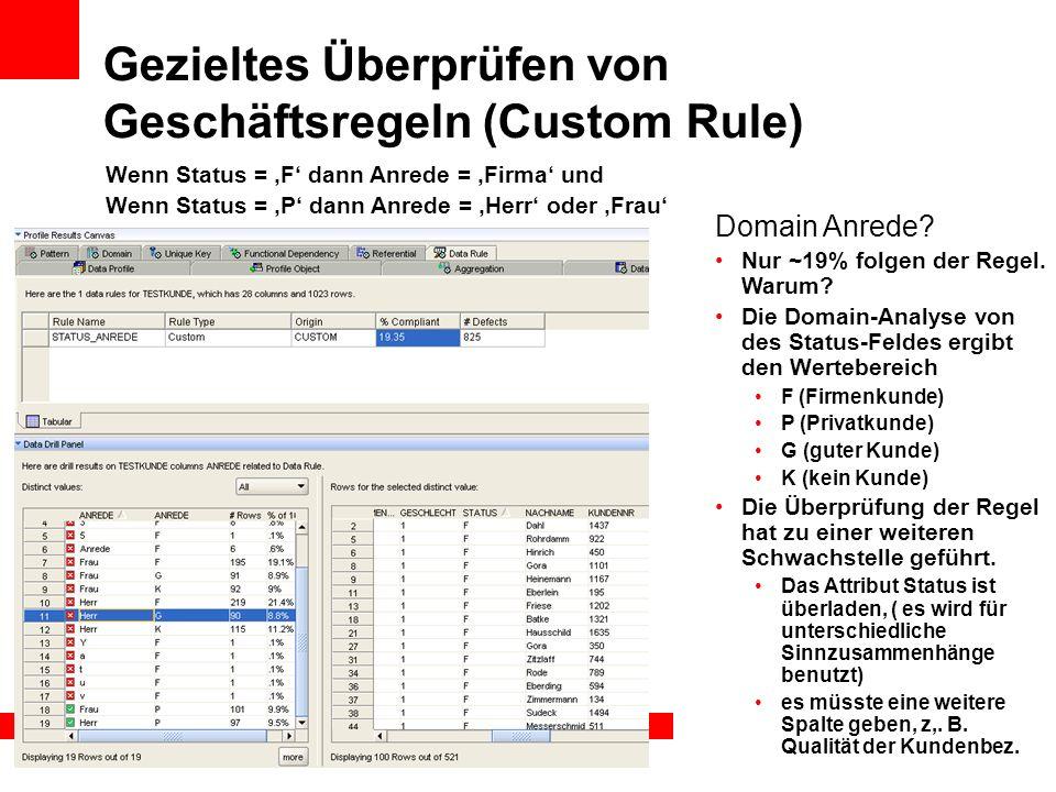 Gezieltes Überprüfen von Geschäftsregeln (Custom Rule)