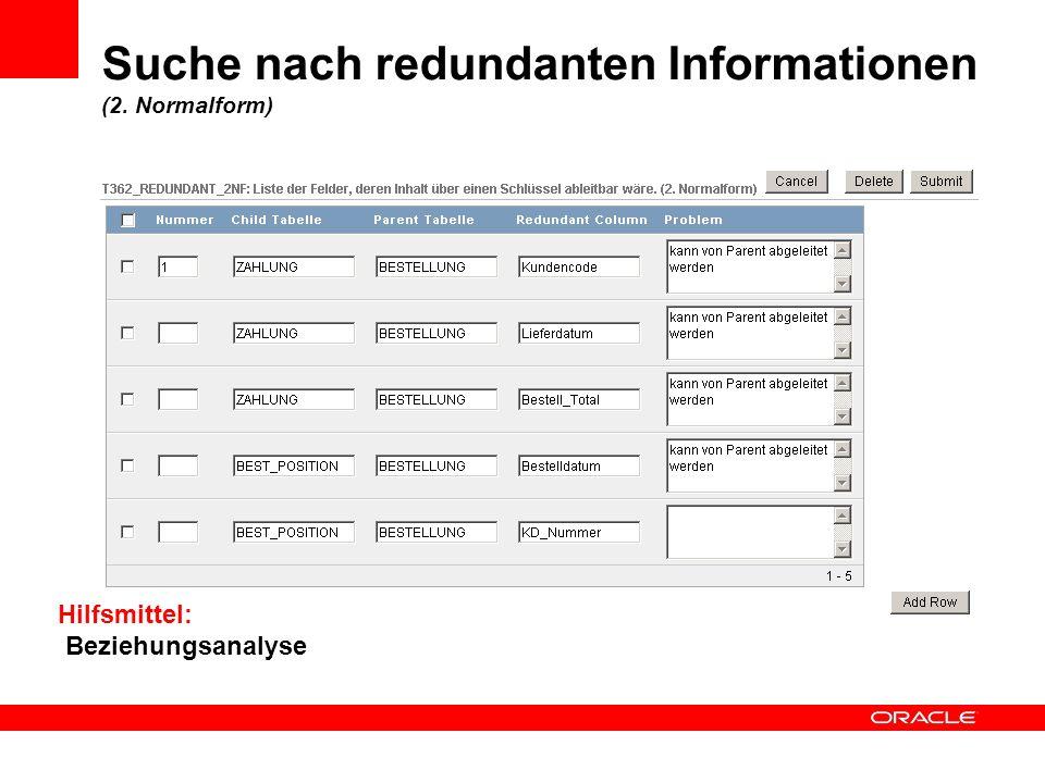 Suche nach redundanten Informationen (2. Normalform)