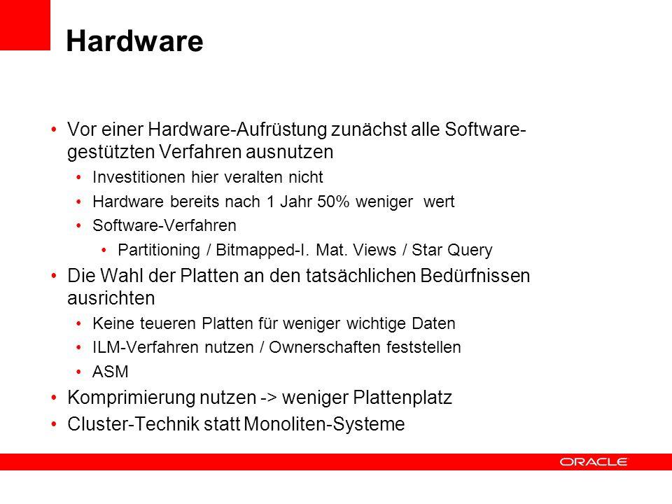 Hardware Vor einer Hardware-Aufrüstung zunächst alle Software-gestützten Verfahren ausnutzen. Investitionen hier veralten nicht.