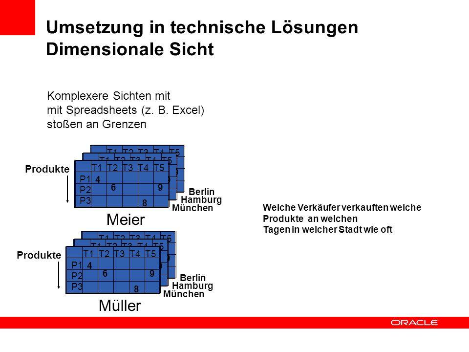 Umsetzung in technische Lösungen Dimensionale Sicht