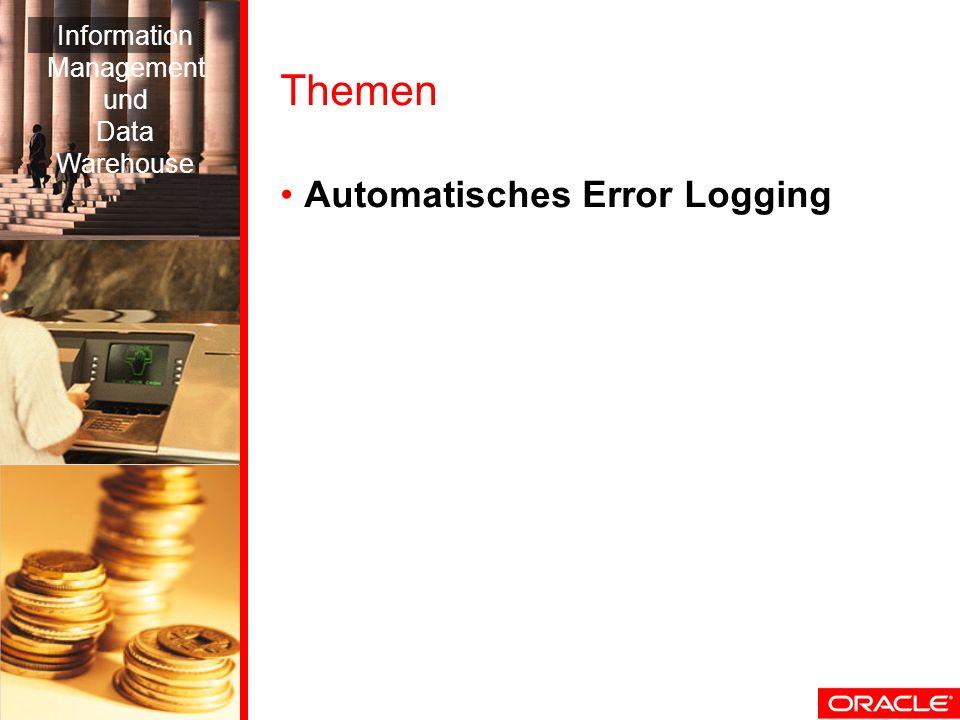 Themen Automatisches Error Logging Information Management und Data