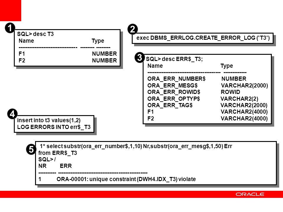 1 2 3 4 5 SQL> desc T3 Name Type