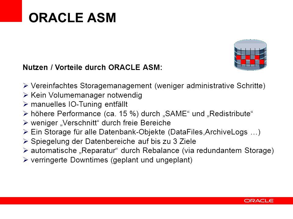 ORACLE ASM Nutzen / Vorteile durch ORACLE ASM: