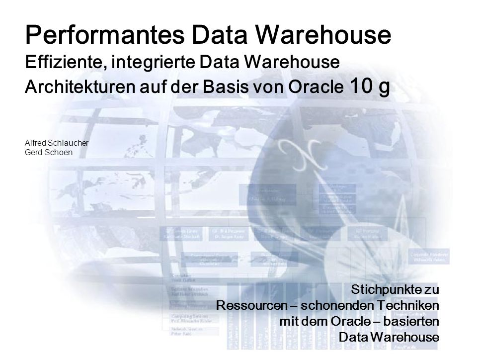 Performantes Data Warehouse