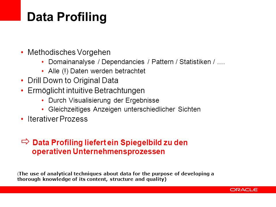 Data Profiling Methodisches Vorgehen. Domainanalyse / Dependancies / Pattern / Statistiken / .... Alle (!) Daten werden betrachtet.