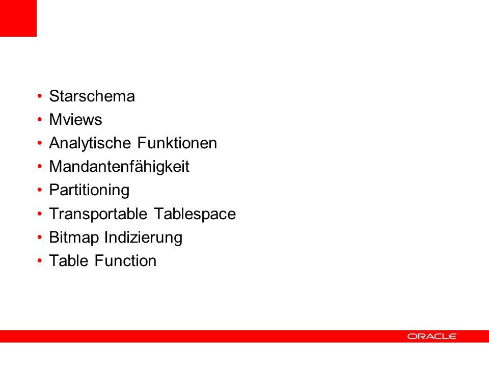 Starschema Mviews. Analytische Funktionen. Mandantenfähigkeit. Partitioning. Transportable Tablespace.