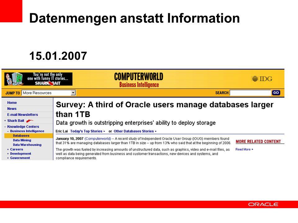 Datenmengen anstatt Information