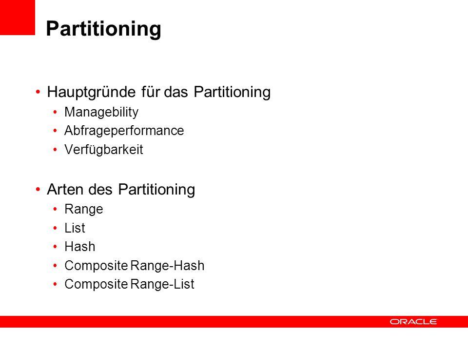 Partitioning Hauptgründe für das Partitioning Arten des Partitioning