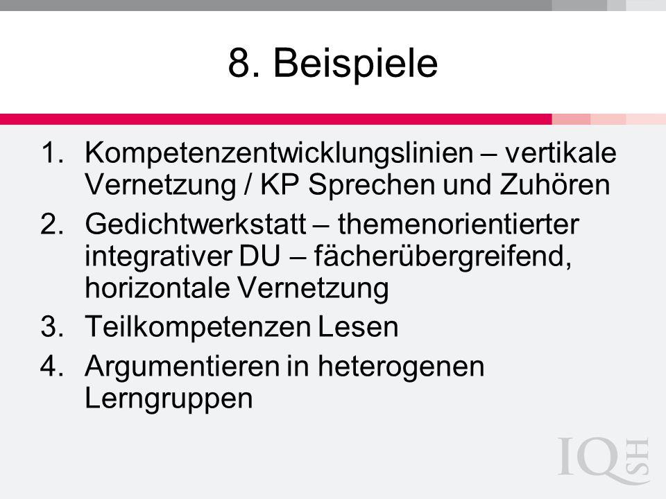 8. Beispiele Kompetenzentwicklungslinien – vertikale Vernetzung / KP Sprechen und Zuhören.