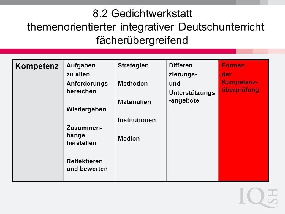 8.2 Gedichtwerkstatt themenorientierter integrativer Deutschunterricht fächerübergreifend