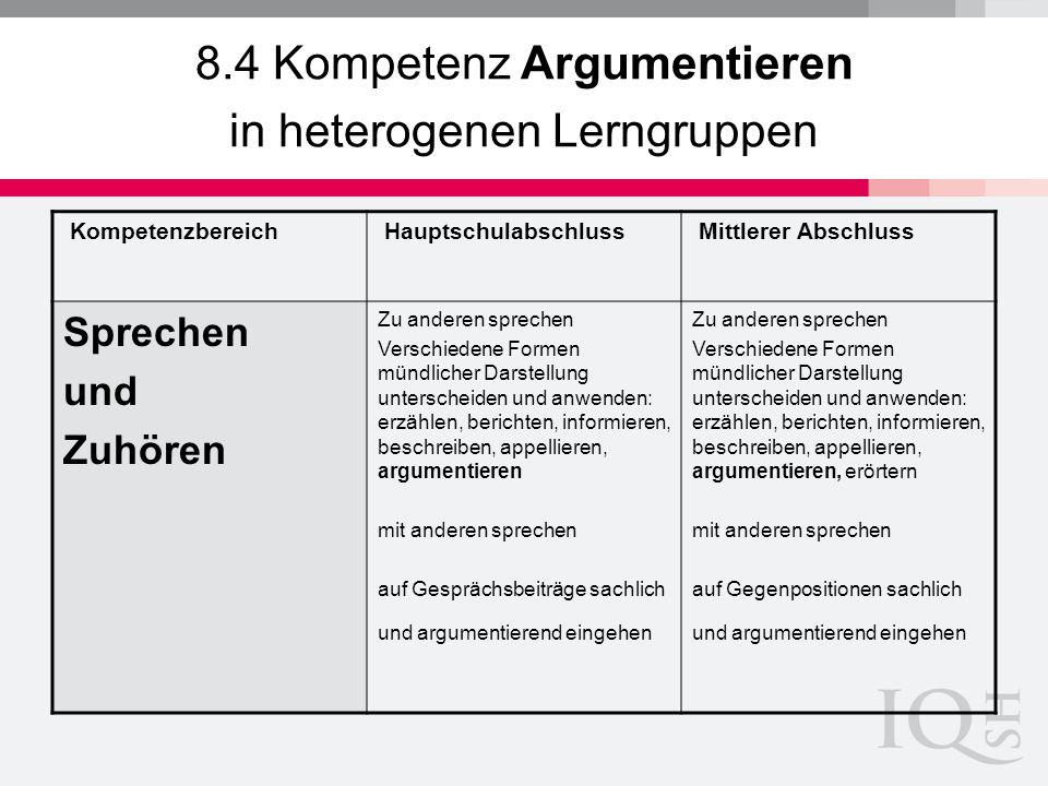 8.4 Kompetenz Argumentieren in heterogenen Lerngruppen
