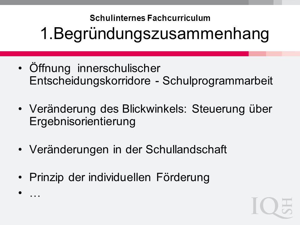 Schulinternes Fachcurriculum 1.Begründungszusammenhang