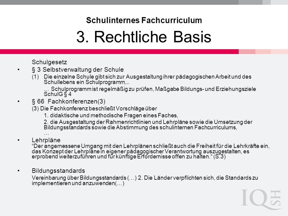 Schulinternes Fachcurriculum 3. Rechtliche Basis