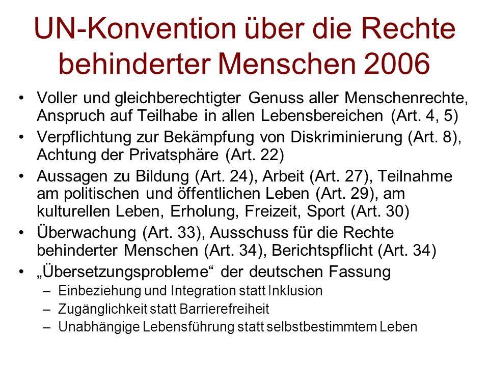 UN-Konvention über die Rechte behinderter Menschen 2006