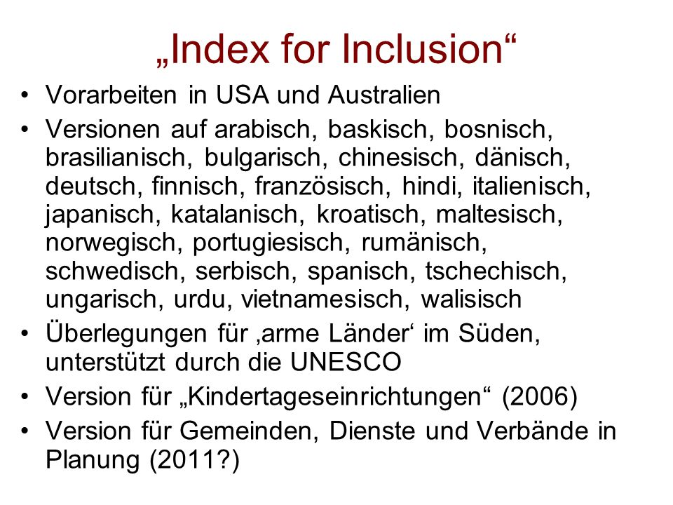 """Index for Inclusion Vorarbeiten in USA und Australien"