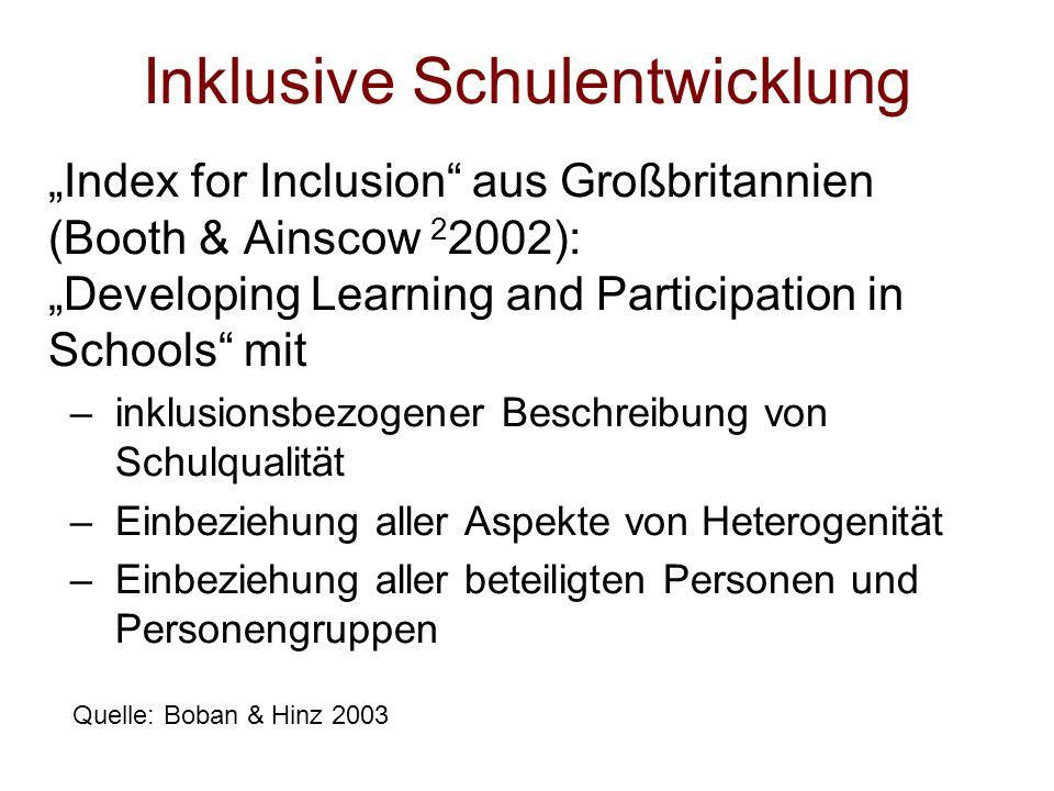 Inklusive Schulentwicklung