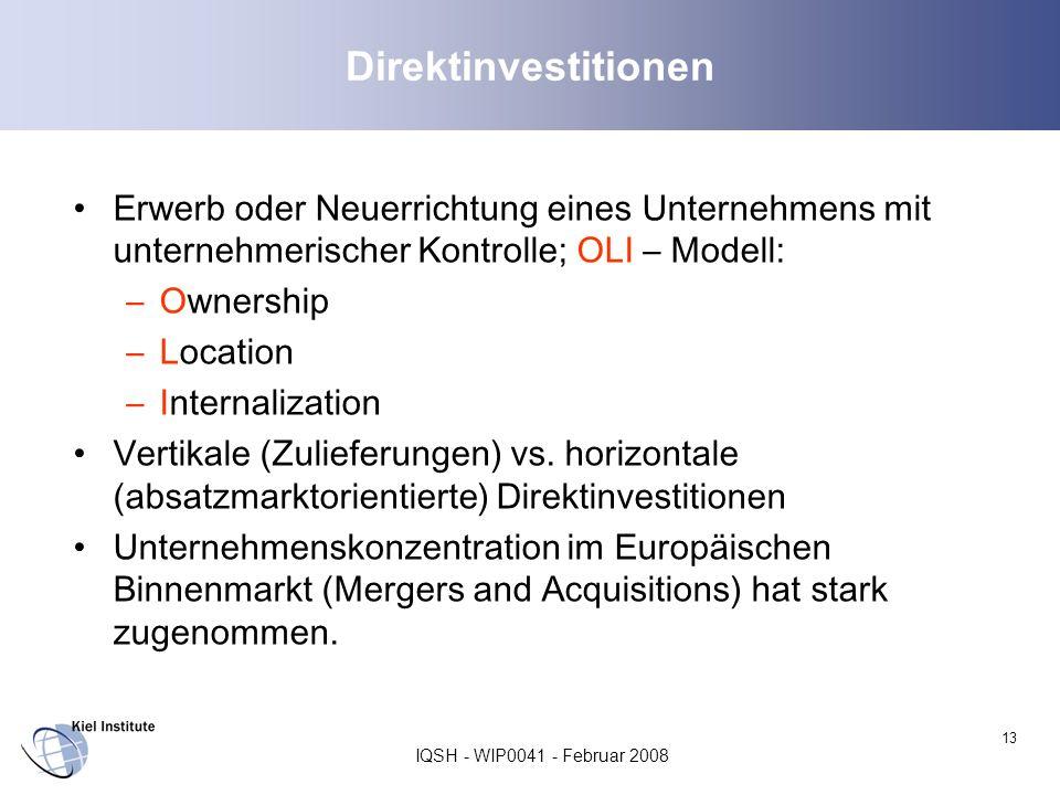 Direktinvestitionen Erwerb oder Neuerrichtung eines Unternehmens mit unternehmerischer Kontrolle; OLI – Modell: