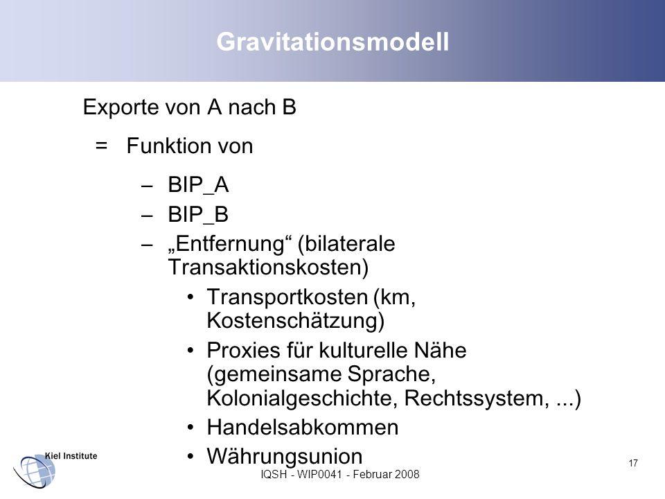 Gravitationsmodell Exporte von A nach B = Funktion von BIP_A BIP_B