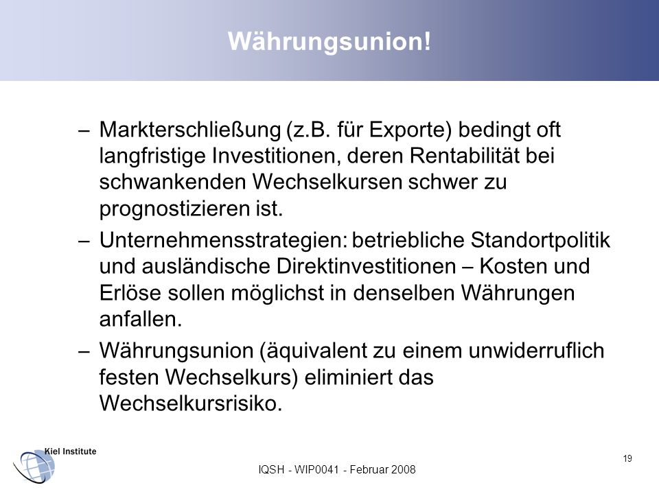 Währungsunion!