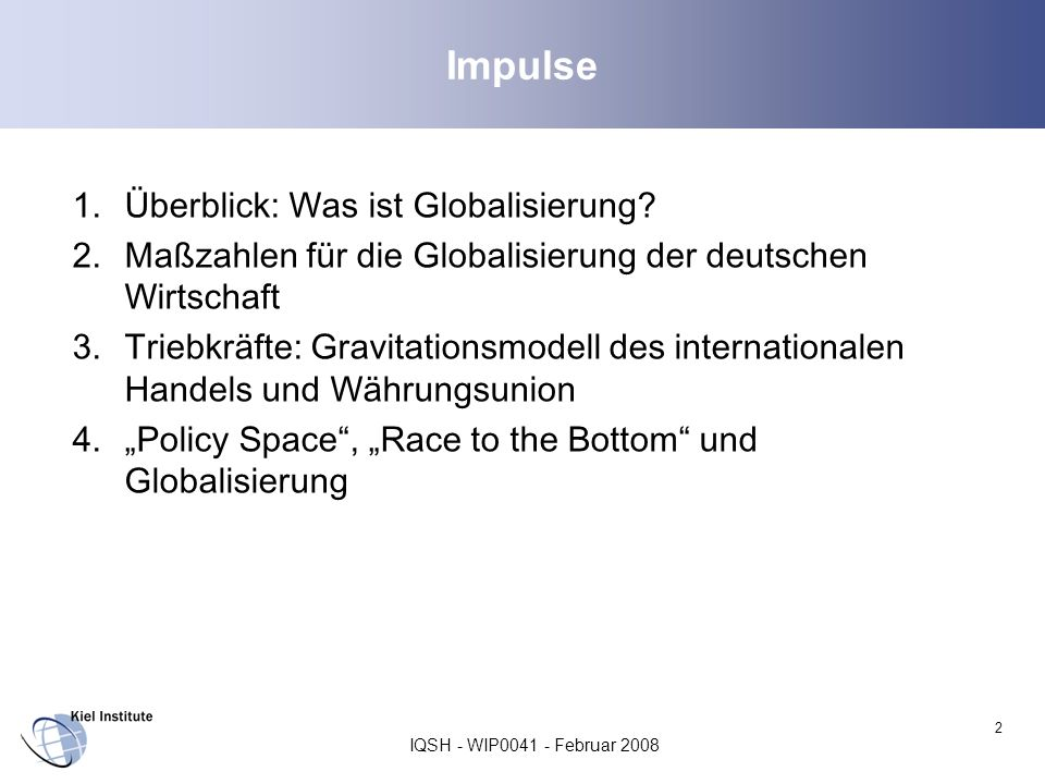 Impulse Überblick: Was ist Globalisierung