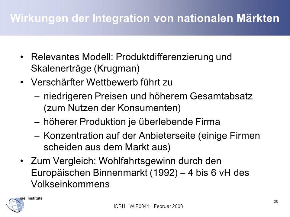 Wirkungen der Integration von nationalen Märkten