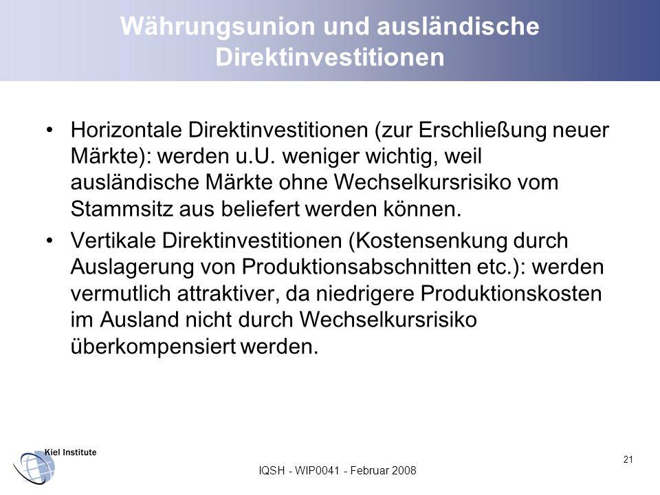Währungsunion und ausländische Direktinvestitionen