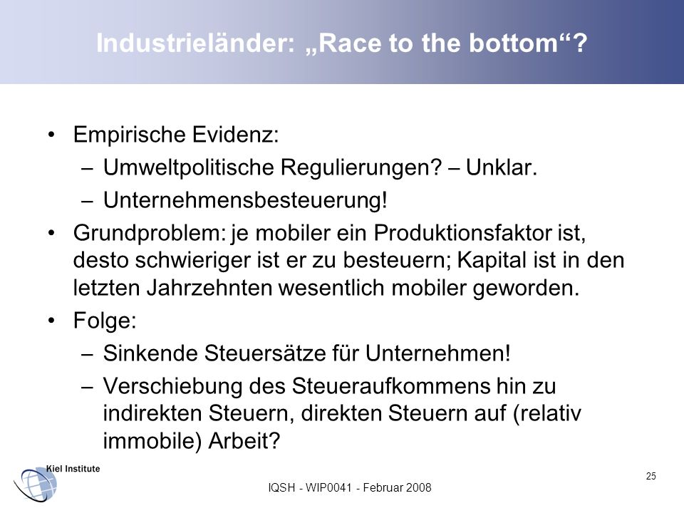 "Industrieländer: ""Race to the bottom"