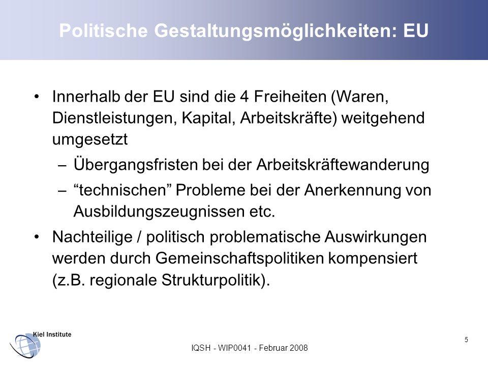 Politische Gestaltungsmöglichkeiten: EU