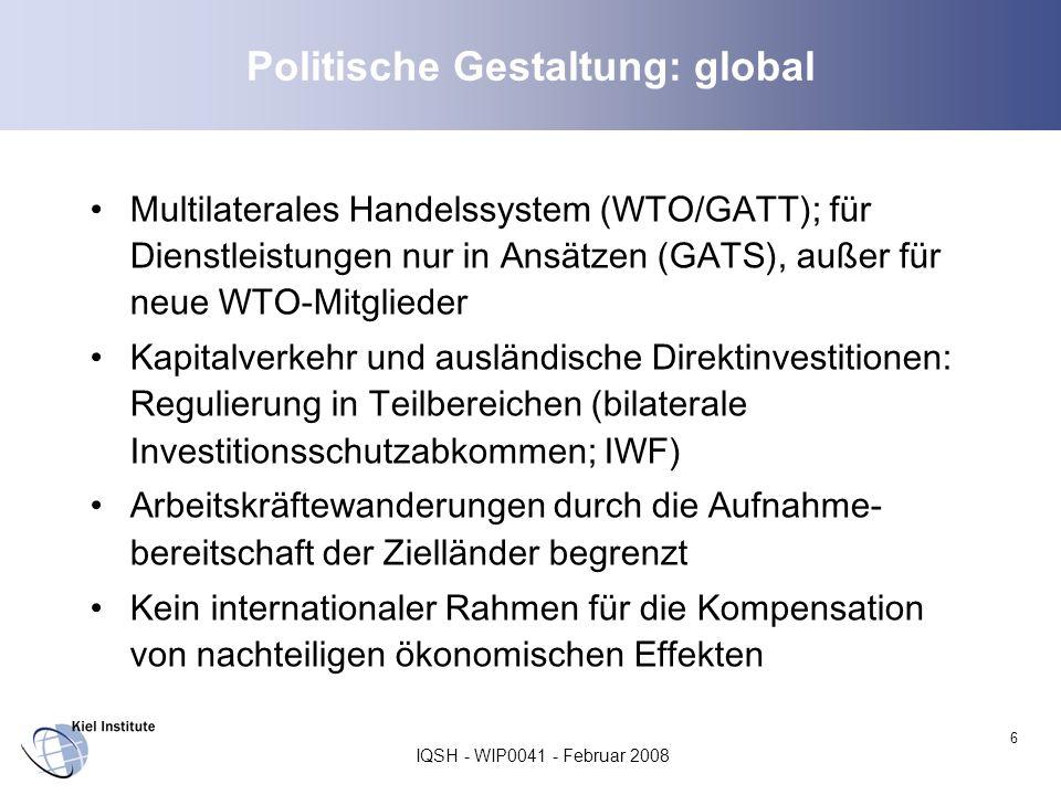 Politische Gestaltung: global