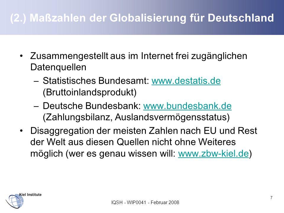(2.) Maßzahlen der Globalisierung für Deutschland