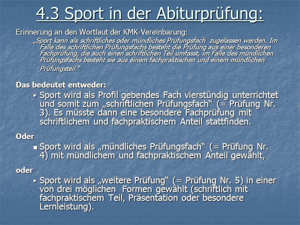 4.3 Sport in der Abiturprüfung: