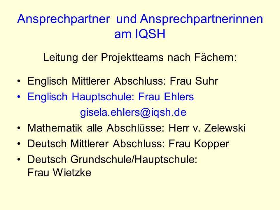 Ansprechpartner und Ansprechpartnerinnen am IQSH