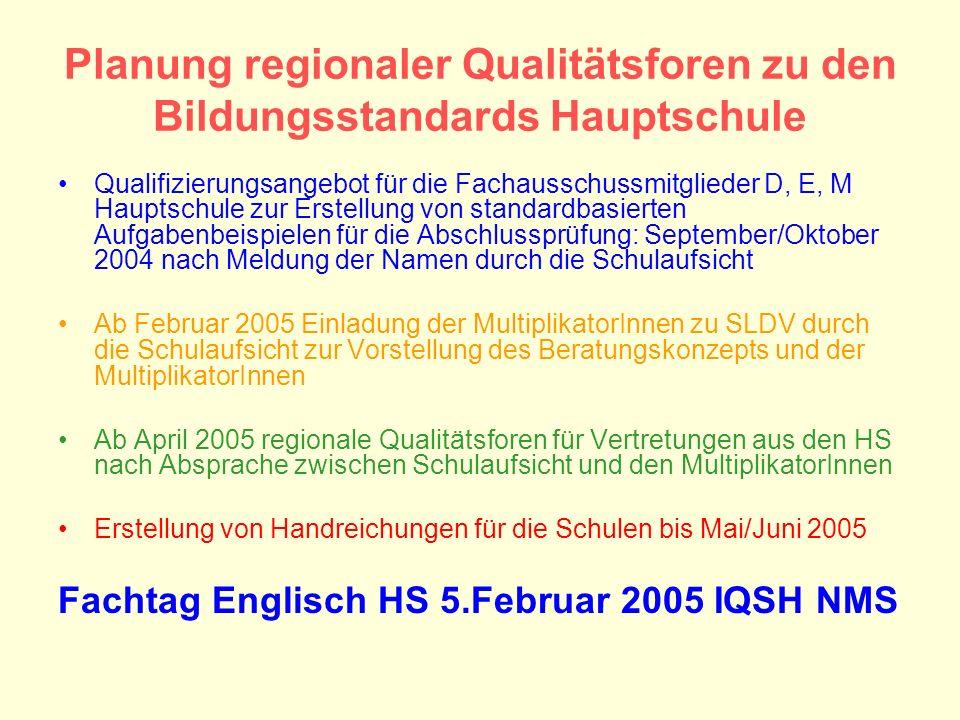Planung regionaler Qualitätsforen zu den Bildungsstandards Hauptschule