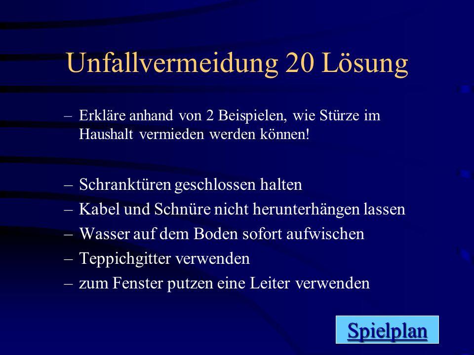 Unfallvermeidung 20 Lösung