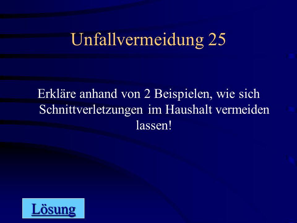 Unfallvermeidung 25 Lösung