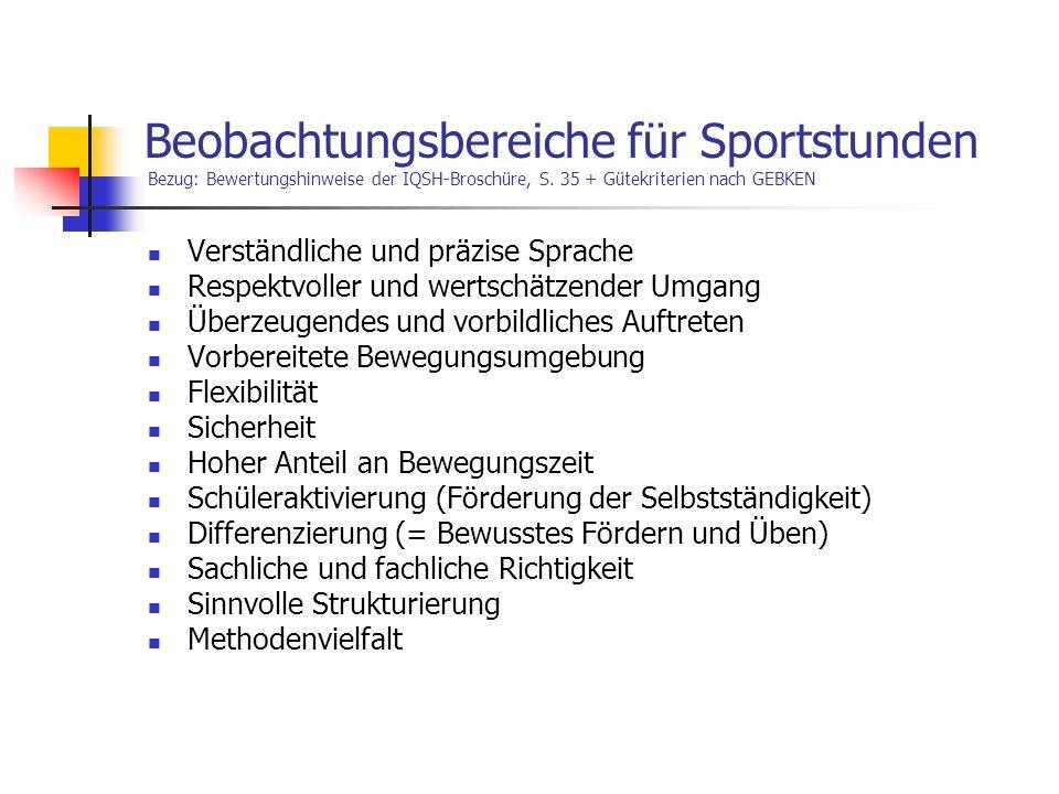 Beobachtungsbereiche für Sportstunden Bezug: Bewertungshinweise der IQSH-Broschüre, S. 35 + Gütekriterien nach GEBKEN