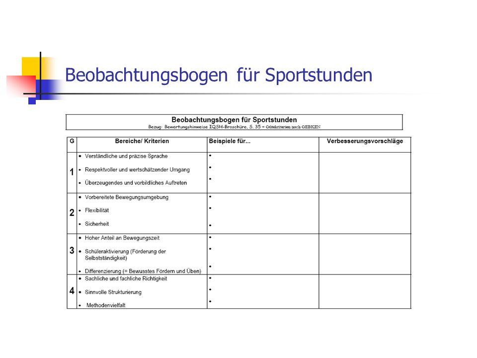 Beobachtungsbogen für Sportstunden