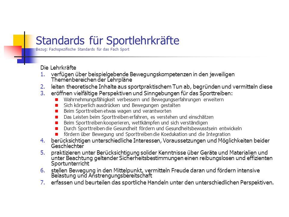 Standards für Sportlehrkräfte Bezug: Fachspezifische Standards für das Fach Sport