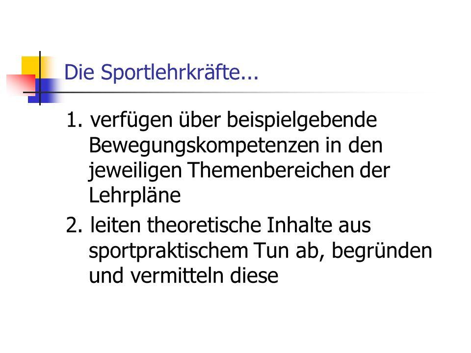 Die Sportlehrkräfte... 1. verfügen über beispielgebende Bewegungskompetenzen in den jeweiligen Themenbereichen der Lehrpläne.