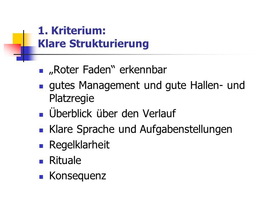 1. Kriterium: Klare Strukturierung