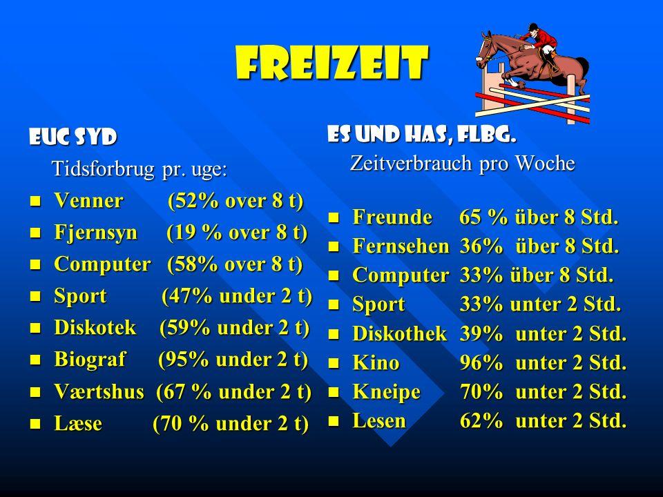 Freizeit EUC Syd Tidsforbrug pr. uge: Venner (52% over 8 t)
