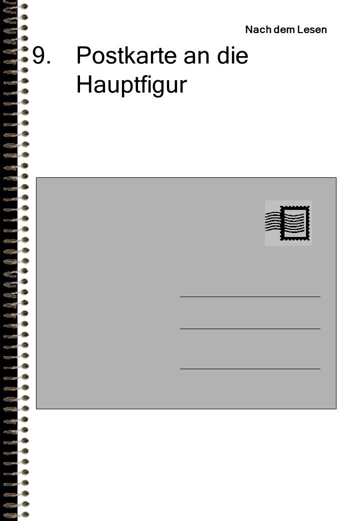 Postkarte an die Hauptfigur