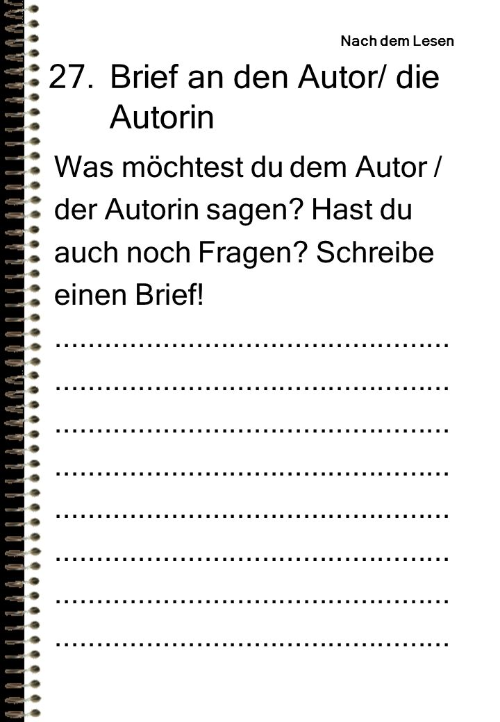 Brief an den Autor/ die Autorin