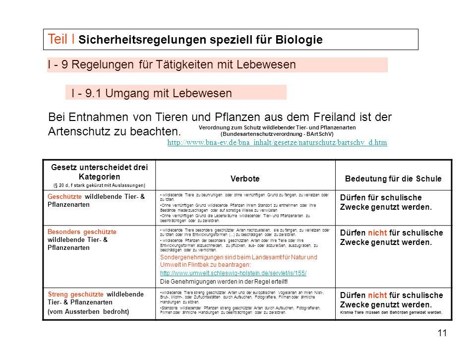 Teil I Sicherheitsregelungen speziell für Biologie