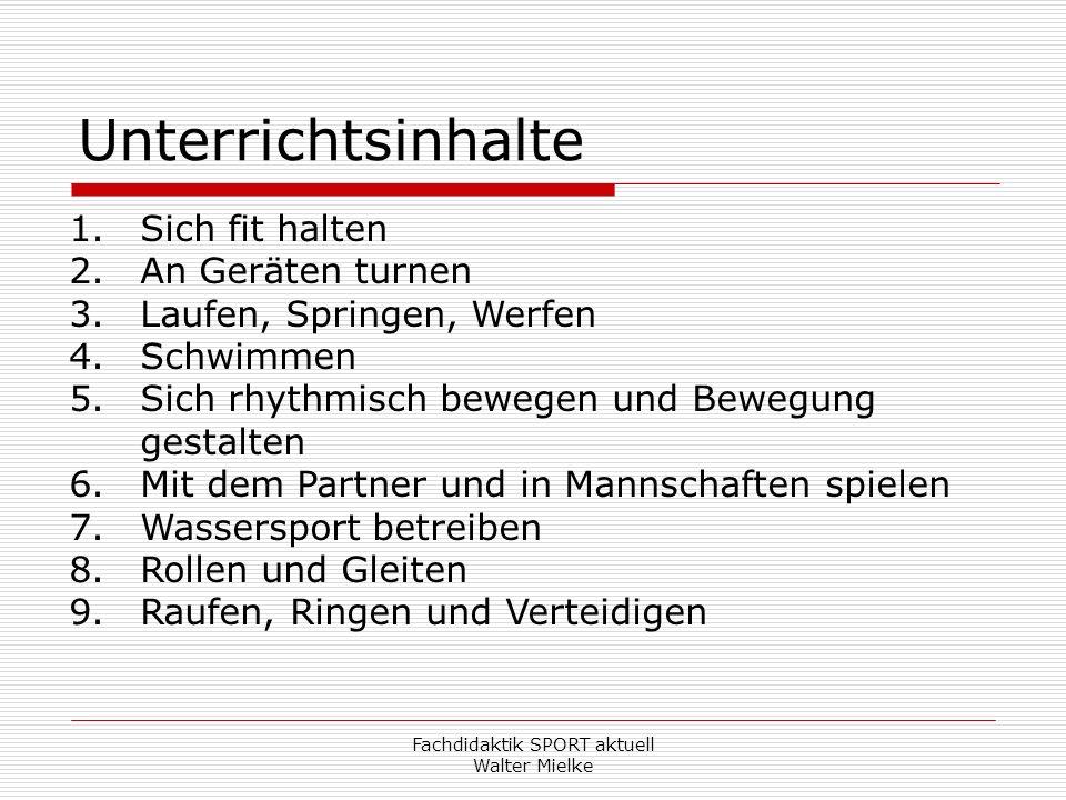 Fachdidaktik SPORT aktuell Walter Mielke