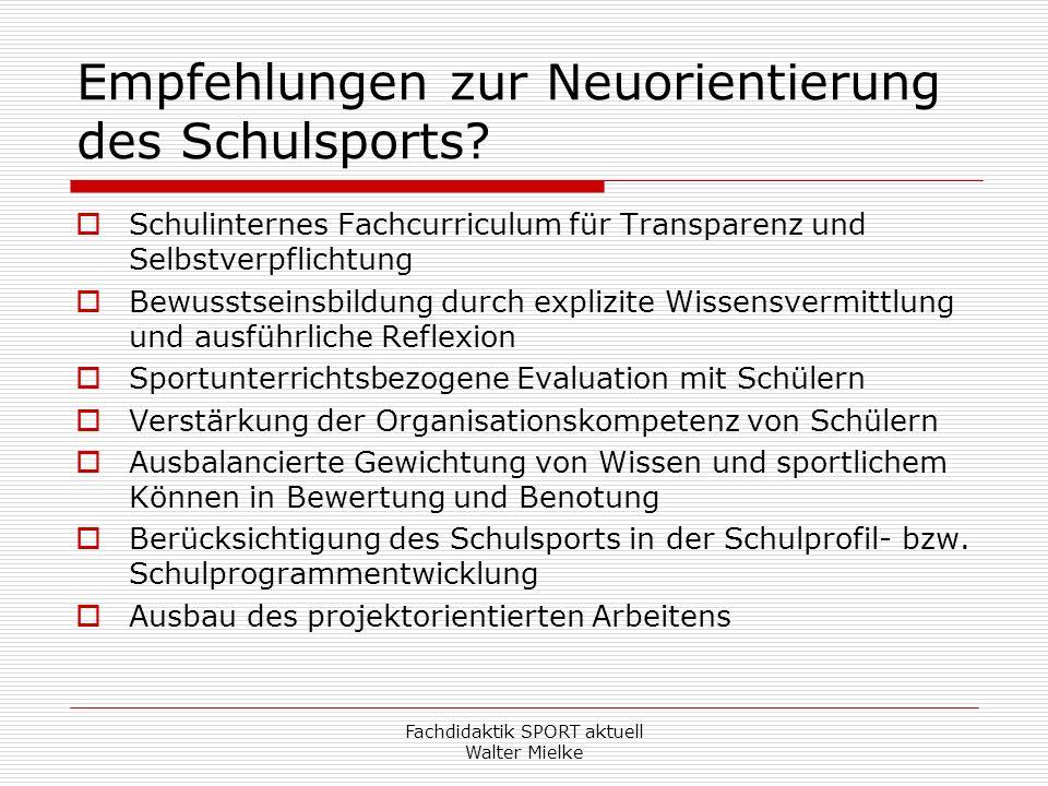 Empfehlungen zur Neuorientierung des Schulsports