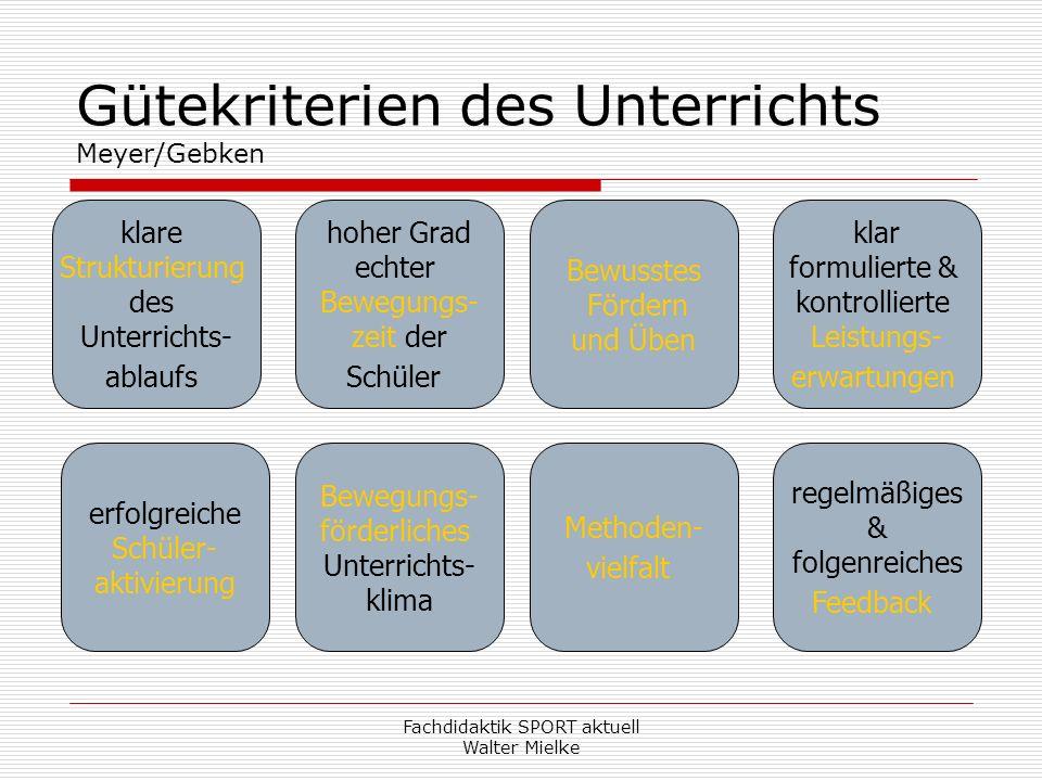 Gütekriterien des Unterrichts Meyer/Gebken