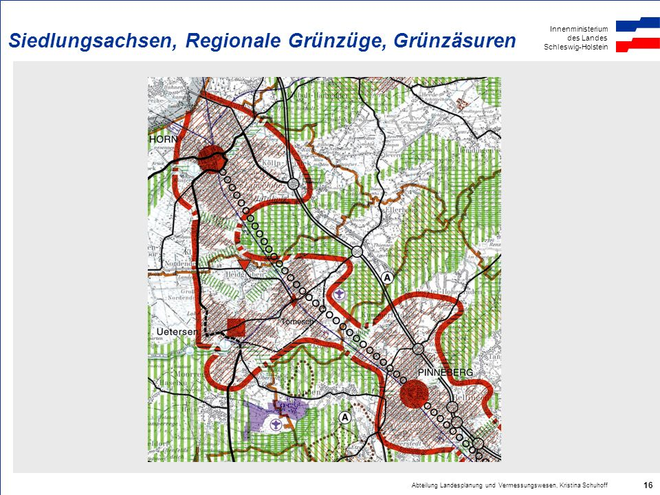 Siedlungsachsen, Regionale Grünzüge, Grünzäsuren