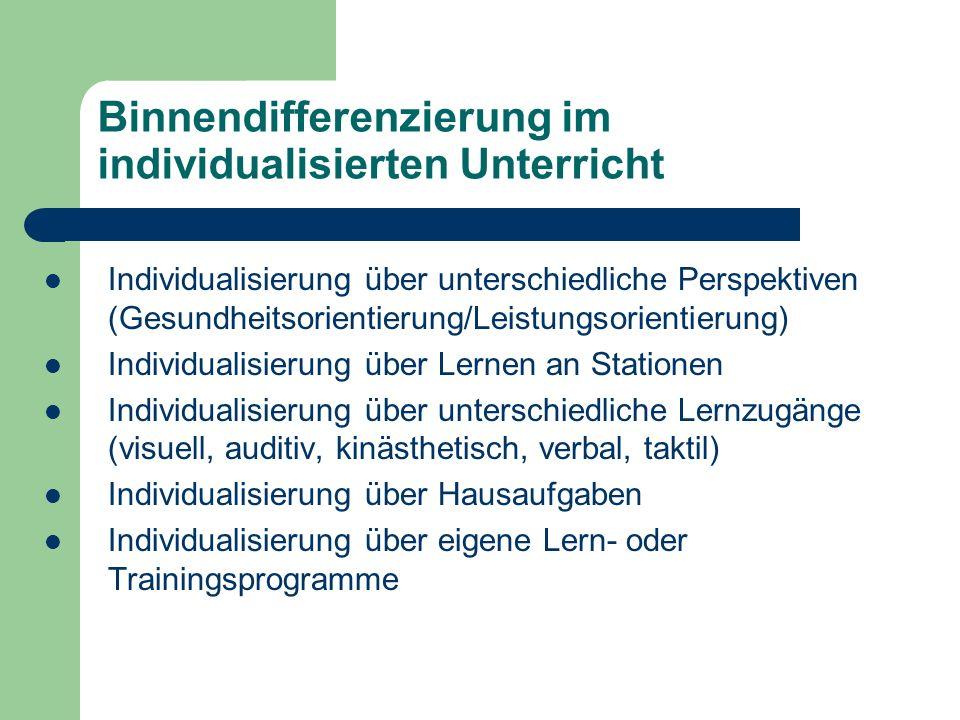 Binnendifferenzierung im individualisierten Unterricht