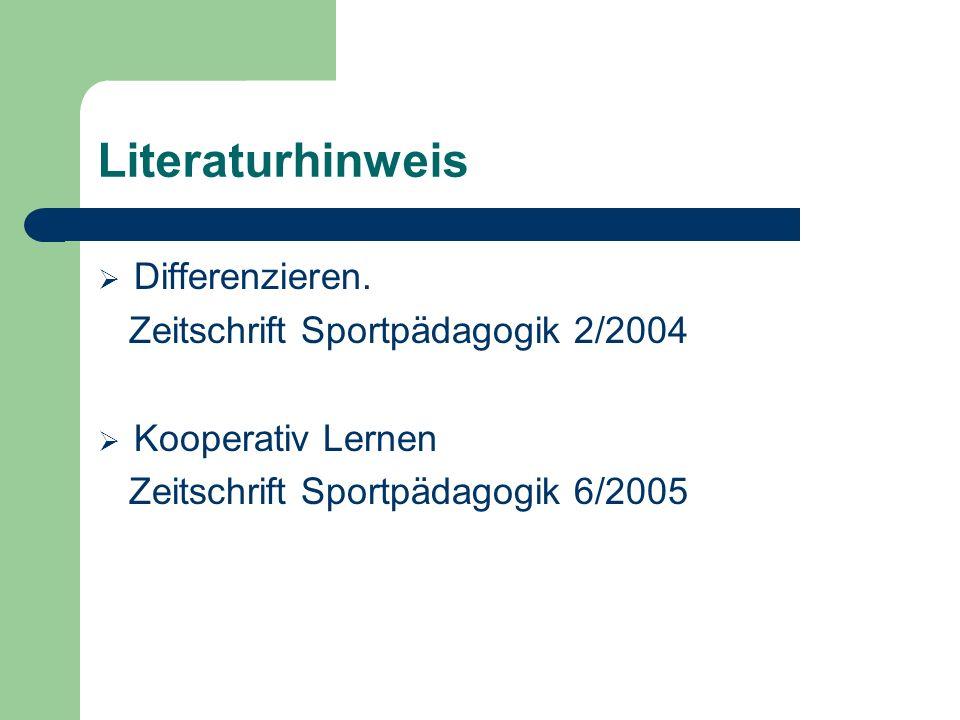 Literaturhinweis Differenzieren. Zeitschrift Sportpädagogik 2/2004